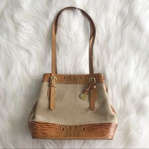 BRAHMIN Leather Woven Bucket Tote Shoulder Bag
